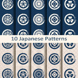 Set of ten seamless vector traditional japanese patterns. Set of ten seamless vector traditional blue circle japanese patterns Royalty Free Stock Images