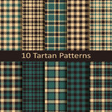 Set of ten seamless vector trendy scottish tartan patterns. design for wrapping, packaging, covers, cloths Stock Photo