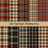 Set of ten seamless vector trendy tartan square scottish patterns. design template for cover, cloths, packaging Royalty Free Stock Images