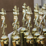 A Set of Ten Shiny Baseball Trophies Stock Photos