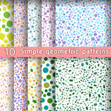 Set of ten simple geometric patterns from shapes figures, vector illustration