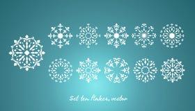 Set ten snowflake, vector Royalty Free Stock Photography