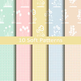 Set of ten soft patterns Stock Photos