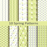 Set of ten spring patterns Stock Image
