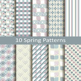 Set of ten spring patterns Royalty Free Stock Photo
