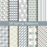 Set of ten spring patterns. Set of ten vector spring patterns Royalty Free Stock Photo