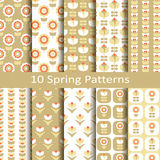 Set of ten spring patterns Stock Photo