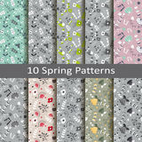Set of ten spring patterns Royalty Free Stock Photo