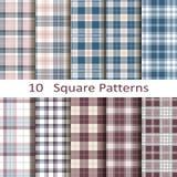 Set of ten square patterns Stock Photos