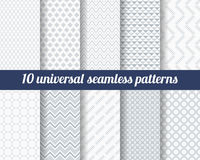 Set of ten subtle seamless patterns. Royalty Free Stock Images