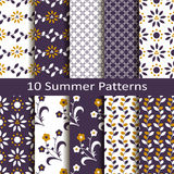 Set of ten summer patterns Royalty Free Stock Images