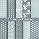 Set of ten summer patterns Royalty Free Stock Image