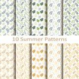 Set of ten summer patterns. Set of ten  summer patterns Royalty Free Stock Photo