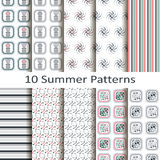 Set of ten summer patterns Royalty Free Stock Photography