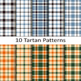 Set of ten tartan patterns Royalty Free Stock Images