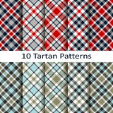 Set of ten tartan patterns Stock Photo
