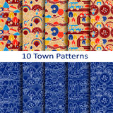 Set of ten town patterns Stock Photos