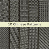 Set of ten traditional chinese patterns Stock Photo