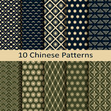 Set of ten traditional geometric chinese patterns Stock Images