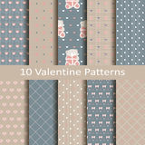 Set of ten valentine patterns. Set of ten vector valentine patterns Stock Photos