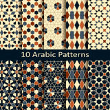 Set of ten vector arabic geometric patterns Stock Images