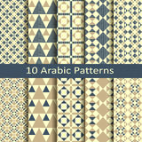 Set of ten vector arabic geometric patterns Royalty Free Stock Photos