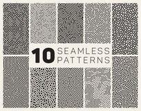Set of Ten Vector Seamless Black and White Organic Rounded Jumble Maze Lines Patterns. Abstract Background Royalty Free Stock Image