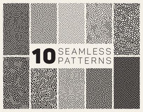 Set of Ten Vector Seamless Black and White Organic Rounded Jumble Maze Lines Patterns. Abstract Background Stock Image