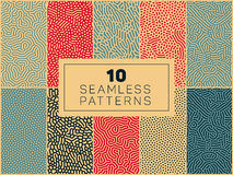 Set of Ten Vector Seamless Organic Rounded  Patterns Royalty Free Stock Image