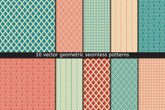 Set of Ten Vector Seamless Patterns In Blue and Red Colors. textile fabric Stock Photos