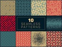 Set of Ten Vector Seamless Wavy Lines Truchet Irregular Halftone Patterns Royalty Free Stock Photography