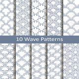 Set of ten wave patterns Royalty Free Stock Images