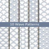 Set of ten wave patterns Royalty Free Stock Images