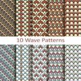 Set of ten wave patterns Stock Photo