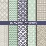 Set of ten wave patterns Royalty Free Stock Photos