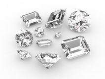 Set of ten white diamonds Royalty Free Stock Photography