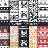 Set of ten winter patterns Royalty Free Stock Photography
