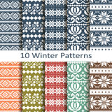 Set of ten winter patterns Stock Photography