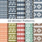 Set of ten winter patterns. Vector set of ten winter patterns Stock Photography
