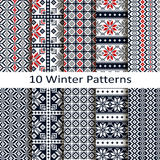 Set of ten winter patterns Royalty Free Stock Photo