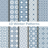 Set of ten winter patterns Royalty Free Stock Photos