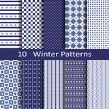 Set of ten winter patterns Stock Photography