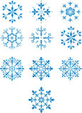 Set of ten winter snowflakes Stock Images