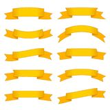 Set of ten yellow ribbons and banners for web design. Royalty Free Stock Photo