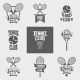 Set of tennis club logos, badges or labels design templates Stock Images