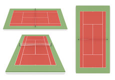 Set of tennis court different of view Stock Image