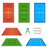 Set of Tennis Courts Royalty Free Stock Photos