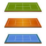 Set of Tennis Courts 3D Perspective 2 Stock Photo