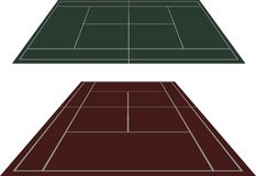 Set tennis courts in perspective Stock Photo