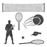 Set of tennis equipment silhouettes. Vector illustration. Collection include tennis racket, balls, tennis net, player and visor silhouettes Stock Images